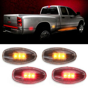 4 Clear Lens Led Fender Bed Side Marker Lights 2 Amber 2 Red For Chevy Gmc