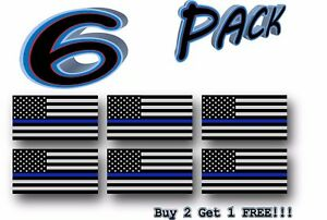 6 Pack Thin Blue Line Police Flag Usa American Sticker Decal Blue Lives Matter