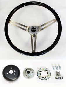 Chevelle Impala Nova Black Wood Steering Wheel High Gloss Finish 15 Ss Cap