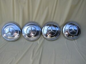 Mercedes Chrome Dog Dish Hub Caps Vintage Set Of 4