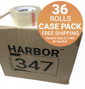 36 Rolls Harbor 347 Packaging Packing Tape 3 2 Mil 1 88 X 60 Yds Heavy Duty