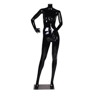 Female Mannequin Full Body Plastic Dress Form Display High Gloss Headless Black