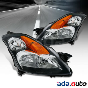 For 2007 2009 Nissan Altima 4dr Sedan Black Headlights Replacement Lamps Set