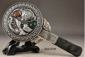 Chinese Tibet Silver Inlay Jade Collectable Handwork Old Carving Hand Mirror