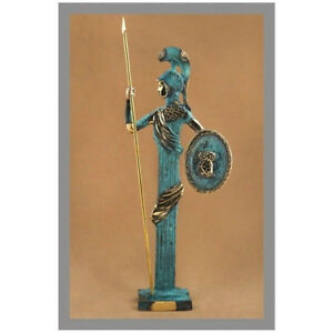 Ancient Greek Bronze Museum Statue Replica Athena Wth Shield Spear Collectable