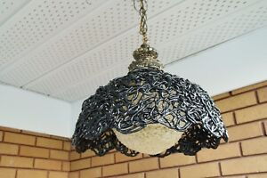 Very Rare Vintage Black And White Spaghetti Ceiling Lamp