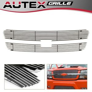 Chrome Billet Grille Grill Main Upper Fit 03 05 Chevy Silverado 02 06 Avalanche