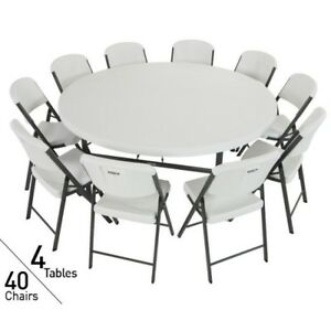 New Lifetime Tables And Chairs 80145 4 72 inch Round Tables 40 Folding Chairs
