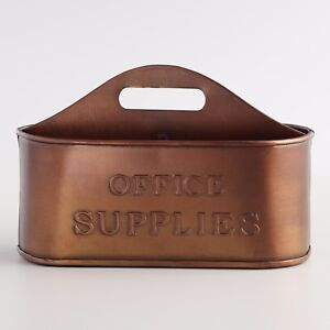 Vintage Office Caddy Supplies Holder Desk Organizer Distressed Copper Storage