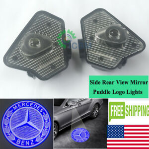 2 X Cree Led Side View Mirror Puddle Blue Logo Lights For Mercedes S class 07 12