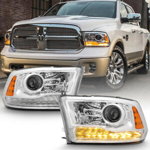 Factory Chrome 2013 2018 Dodge Ram 1500 2500 3500 Projector Headlights Headlamps