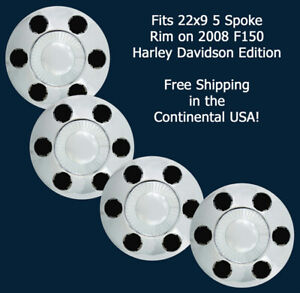 08 Ford F150 Harley Davidson C3750 Chrome Replacement Center Caps 22 Rim Set