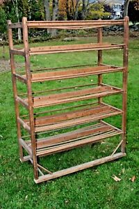 Antique Industrial Shoe Rack Wine Bookshelf Kitchen Hutch Factory Cart