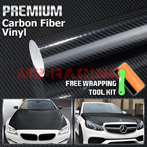 12 x60 7d Carbon Fiber High Gloss Black Vinyl Wrap Bubble Free Air Release