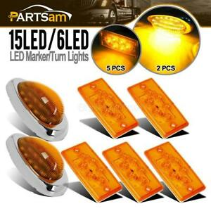 Amber Led Freightliner Kit 5x Cab Roof Led Lights 6 Turn Marker Signal Lights