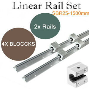2set Shaft Rod Sbr25 1500 Slide Guide Fully Supported Linear Rail For Cnc