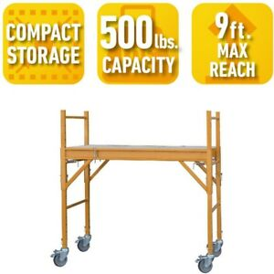4 Ft Mini Rolling Scaffold Tower Deck Indoor Multi use Drywall Baker 500 Lb Load