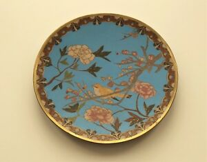19th C Chinese Cloisonne Enamel 9 5 Plate Charger Bird Flowers