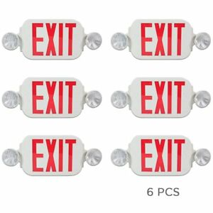 Etoplighting 6 Pack Led Red Exit Sign Emergency Light Combo With Battery Back