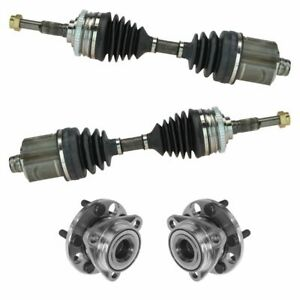 4 Piece Steering Kit Front Cv Axle Assemblies W Wheel Hub Bearings New