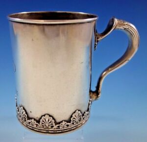 Whiting Sterling Silver Baby Child S Cup Mug Applied Shell Border 3 3 4 Tall