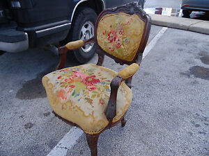 Antique Highly Carved French Needlepoint Chair 1890 S
