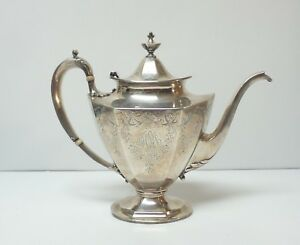Reed Barton Sterling Silver Engraved Tea Coffee Pot Monogram 800 Grams