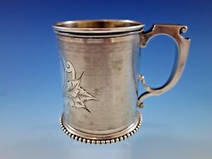 Gorham Coin Silver Baby Child S Cup Mug Engine Turned Chased And Brite Cut 57