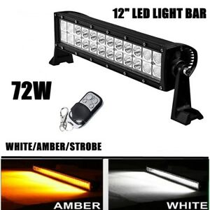 12 72w Amber White Combo Led Work Fog Light Bar Flashing Strobe Remote Control