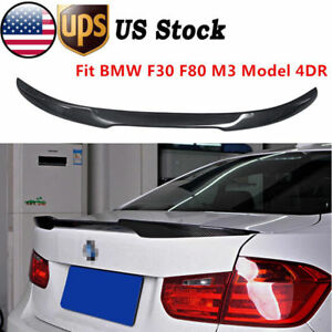 For Bmw F30 F80 M3 Model 4dr Sedan Carbon Fiber Rear Trunk Lip Spoiler Wing