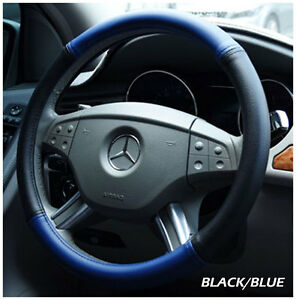 Iggee Black Blue S Leather Premium High Quality Steering Wheel Cover 14 5