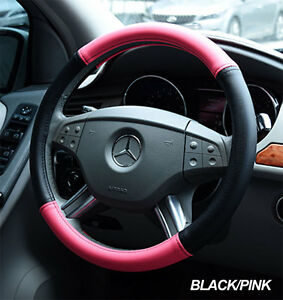 Iggee Black Pink S Leather Premium High Quality Steering Wheel Cover 15