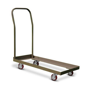 Brown Heavy Duty Steel Dolly Up To 50 Folding Chair Maneuvering Cart Storage