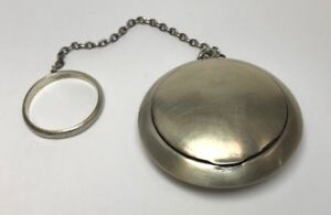 Antique Sterling Silver Compact Case Mirror Make Up Vintage 925 Key Chain Blush