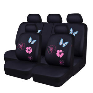 Univeral Car Seat Covers Butterfly Purple For Women Girls Airbag Truck Suv Car