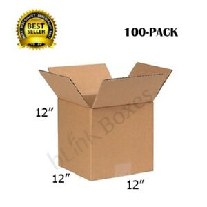 12x12x12 Packing And Shipping Boxes Of Carton For Delivery And Storage 100 Pack