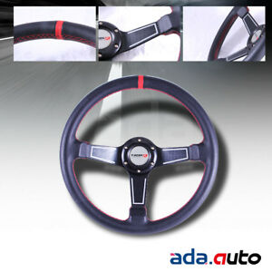 350mm P v c Leather Wrapped Red Stitch 3 Spoke Steering Wheel With Horn Butto