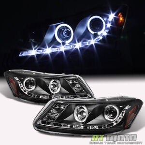 For Blk 2008 2012 Honda Accord 4dr Halo Projector Headlights W Led Running Lamps