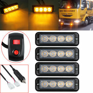 4pcs Led Amber Light Emergency Warning Strobe Flashing Yellow Bar Hazard Grill