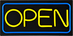 Large Led Open Sign Yellow Blue 24x12 Very Bright bd24 6 Plus Remote