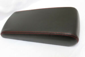 Fit 08 10 Dodge Charger 300 Black Vinyl Red Stitch Console Lid Armrest Cover