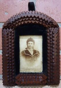 Antique Tramp Art Frame W Picture Lovely Bowed Top Layered Decorative Art