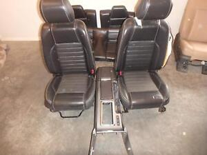 2013 2014 Ford Mustang Black Leather Power Front Buckets And Rear Seat Console