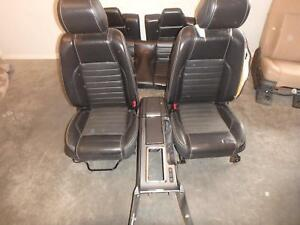 13 14 Ford Mustang Black Leather Power Front Buckets And Rear Seat Console