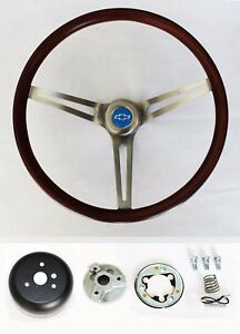 Blazer C10 C20 C30 Pick Up Wood Steering Wheel Low Gloss Grip Blue Bowtie Cap 15
