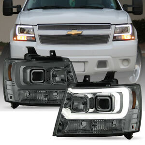 2007 2014 Chevy Suburban Tahoe Avalanche Led Drl Tube Projector Headlights Smoke