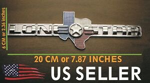 Texas Lone Star Texas Edition Emblem Sticker Real Heavy Duty Metal Chrome Finish
