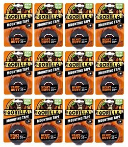 Gorilla Mounting Tape 6055001 Heavy Duty Holds Up To 30lb 12 Pack