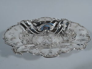 Antique Bowl Rococo Revival Scene With Gallant Swingers German 800 Silver