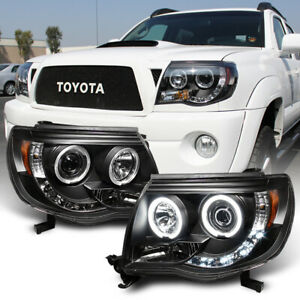 For Black 2005 2011 Toyota Tacoma Led Halo Projector Headlights Lamps Pre Runner